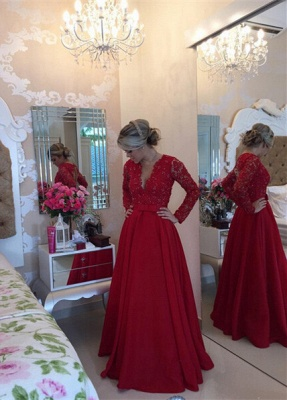 Delicate Red Chiffon Lace Prom Dress UK Pearls Long Sleeve BT0_3