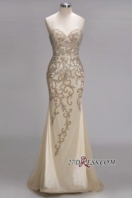Backless Crystals Beaded Luxury Sweetheart Formal Long Tulle Evening Gowns_6