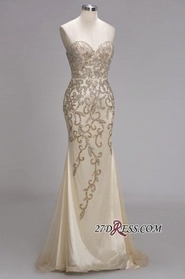 Backless Crystals Beaded Luxury Sweetheart Formal Long Tulle Evening Gowns_4