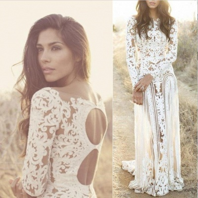 Sheath Bateau Long Sleeves Open Back Lace Wedding Dress_4