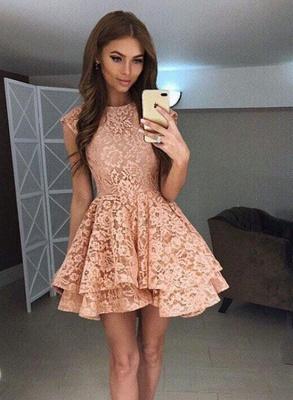 Luxury Sleeveless Lace Short Homecoming Dress UK On Sale_1