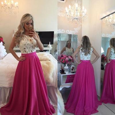 Modern Illusion Chiffon A-line Prom Dress UK Lace Pearls BT0_6