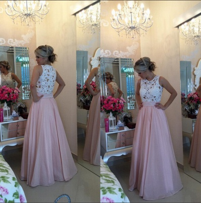 Modern Illusion Chiffon A-line Prom Dress UK Lace Pearls BT0_3