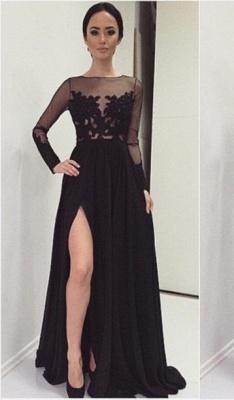 Elegant Lace Appliques Black Prom Dress UK Front Split Long Sleeve Illusion Sweep Train_2
