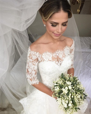 Elegant Half Sleeve Lace Wedding Dress Tulle Zipper Button Back LY190_4
