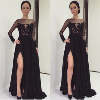 Elegant Lace Appliques Black Prom Dress UK Front Split Long Sleeve Illusion Sweep Train_3