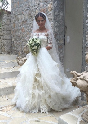 Elegant Half Sleeve Lace Wedding Dress Tulle Zipper Button Back LY190_2