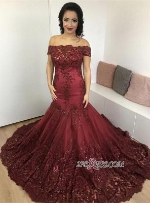 Lace Burgundy Gorgeous Appliques Mermaid Off-the-Shoulder Evening Dress UK_3