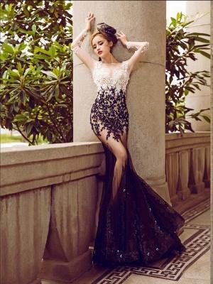 Long-Sleeve Lace Appliques Evening Dress UK | Mermaid Elegant Prom Party Dress UK_4