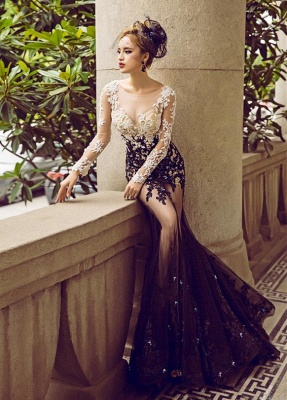Long-Sleeve Lace Appliques Evening Dress UK | Mermaid Elegant Prom Party Dress UK_2