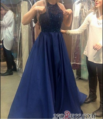 A-line Halter-Neck Beading Dark-Navy-Blue Ruffles Prom Dress UKes UK_1