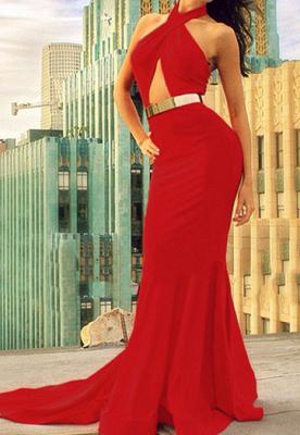 Elegant Red Halter Mermaid Prom Dress UKes UK Sweep Train Evening Dress UKes UK_1