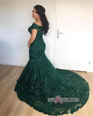 Lace Burgundy Gorgeous Appliques Mermaid Off-the-Shoulder Evening Dress UK_2