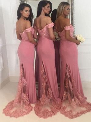 Off-the-Shoulder Pink Bridesmaid Dress UK   2019 Mermaid Long Lace Bridesmaid Dress UKes UK_4