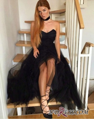Long Tulle Simple A-line Black Strapless Evening Dress UK_1
