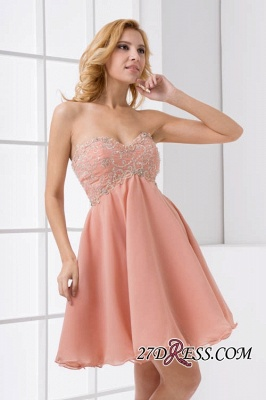 Lace-Up A-line Appliques Short Sweetheart Sexy Bridesmaid Dress UKes UK_2
