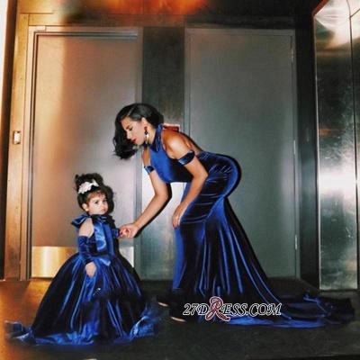 Halter Court-Train Velvet Mermaid Open-Back Elegant Prom Dress UK qq0125_1