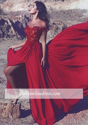 Red Off-the-Shoulder Split Lace Appliques Long Prom Dress UK_2