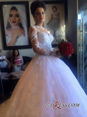 Long-Sleeve Delicate Lace-Appliques A-line White Wedding Dress_4