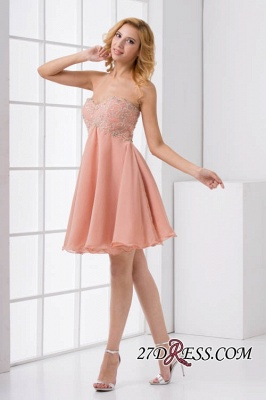 Lace-Up A-line Appliques Short Sweetheart Sexy Bridesmaid Dress UKes UK_4