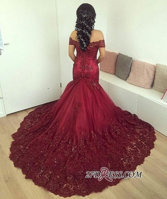 Lace Burgundy Gorgeous Appliques Mermaid Off-the-Shoulder Evening Dress UK_4