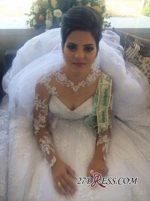 Long-Sleeve Delicate Lace-Appliques A-line White Wedding Dress_2