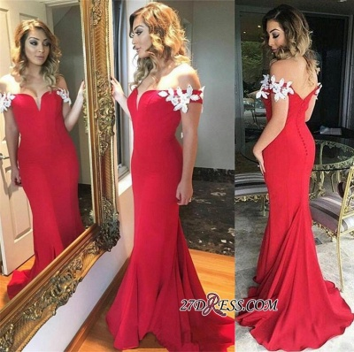 Sheath Red Ruffles Sexy Long White-Appliques Off-the-shoulder Open-Back Evening Dress UK_1