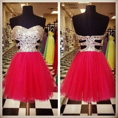 Gorgeous Sweetheart Sleeveless Tulle Short Cocktail Dress UK With Crystals CJ0375_2