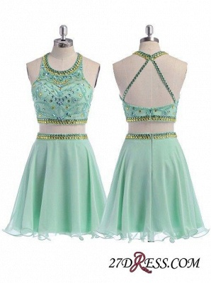 Beading Coral Two-Piece Crystals Mini Lovely Halter Organza Homecoming Dress UK_3