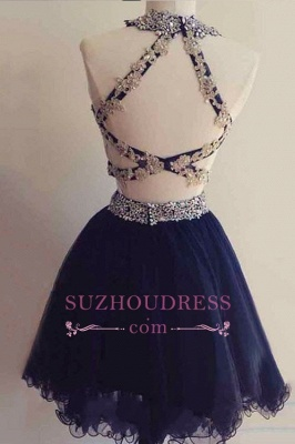 Navy Two-Pieces Beaded Sexy Short Blue Homecoming Dress UKes UK_1