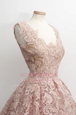 A-Line Short Lace Simple Sleeveless Sexy Homecoming Dress UKes UK_1