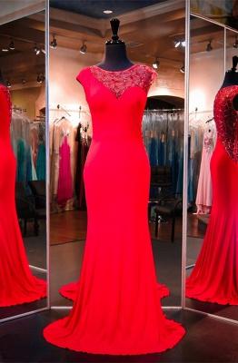 Newest Red Beading Evening Dress UK Cap Sleeve Mermaid Sweep Train_1