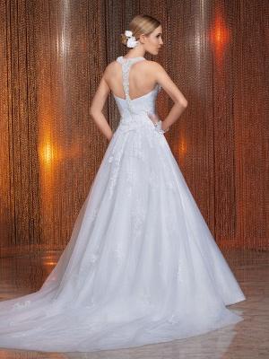 Gorgeous Scoop Neckline Lace Appliques A-Line Wedding Dress With Train_5