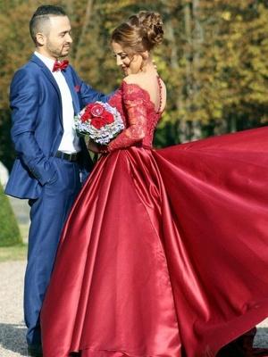 Gorgeous Off-the-Shoulder Long Sleeve Lace Appliques Evening Party Dress UK_3