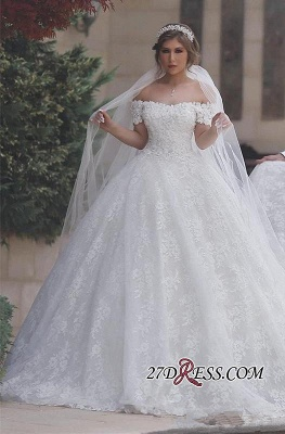 White Ball-Gown Appliques Lace-Up-Back Off-Shoulder Sweetheart Arabic Wedding Dress BA6842_3