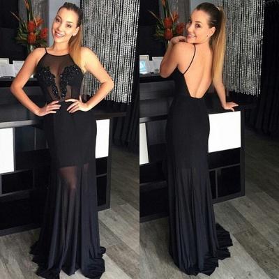 Elegant Halter Sleeveless Floor-length Black Prm Dress UK With Open Back Beadings_1