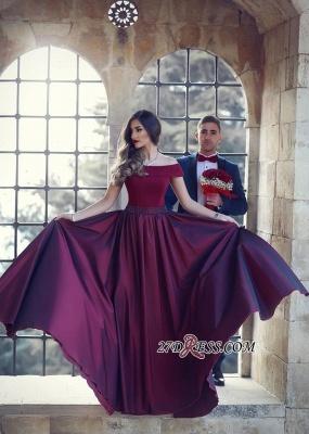 Beautiful A-Line Floor-Length Off-the-shoulder Wine Evening Dress UK_1
