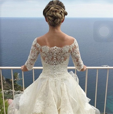 Elegant Half Sleeve Lace Wedding Dress Tulle Zipper Button Back LY190_5