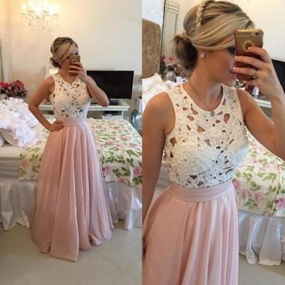 Modern Illusion Chiffon A-line Prom Dress UK Lace Pearls BT0_4