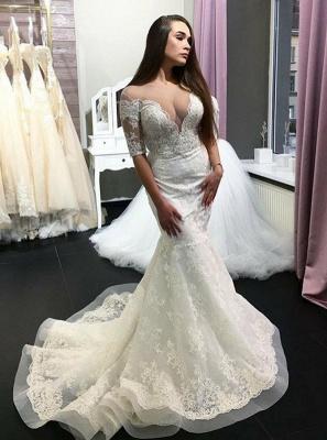 Elegant Short-Sleeve Lace Wedding Dress | Sexy Mermaid Bridal Gowns On Sale_1