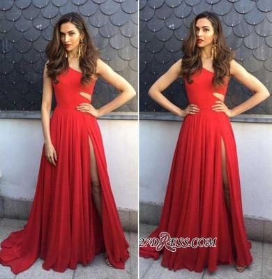 Red chiffon prom Dress UK with slit, prom Dress UKes UK BA8925_2