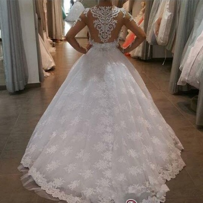 Long-Sleeve Delicate Lace-Appliques A-line White Wedding Dress_3