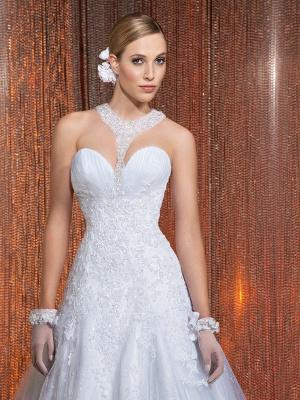 Gorgeous Scoop Neckline Lace Appliques A-Line Wedding Dress With Train_4