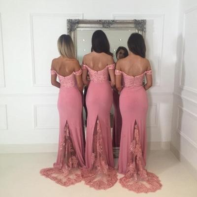 Off-the-Shoulder Pink Bridesmaid Dress UK   2019 Mermaid Long Lace Bridesmaid Dress UKes UK_3