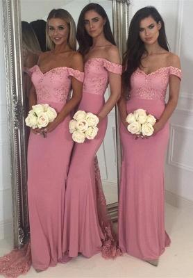 Off-the-Shoulder Pink Bridesmaid Dress UK   2019 Mermaid Long Lace Bridesmaid Dress UKes UK_1