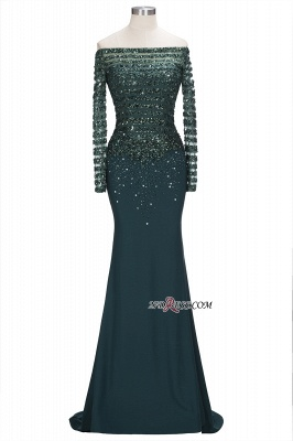 off-the-Shoulder Dark-Green Long-Sleeves Sequins Mermaid Evening Dress UK_6