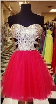 Gorgeous Sweetheart Sleeveless Tulle Short Cocktail Dress UK With Crystals CJ0375_1
