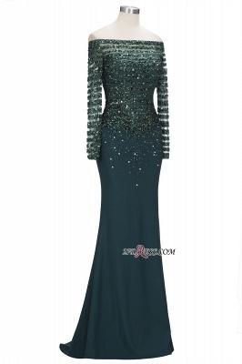 off-the-Shoulder Dark-Green Long-Sleeves Sequins Mermaid Evening Dress UK_2