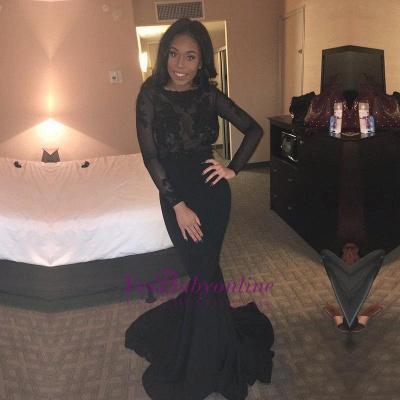 Black Mermaid Elegant Lace Backless Long-Sleeves Sheer Evening Gown BK0_1