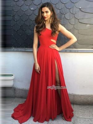 Red chiffon prom Dress UK with slit, prom Dress UKes UK BA8925_3